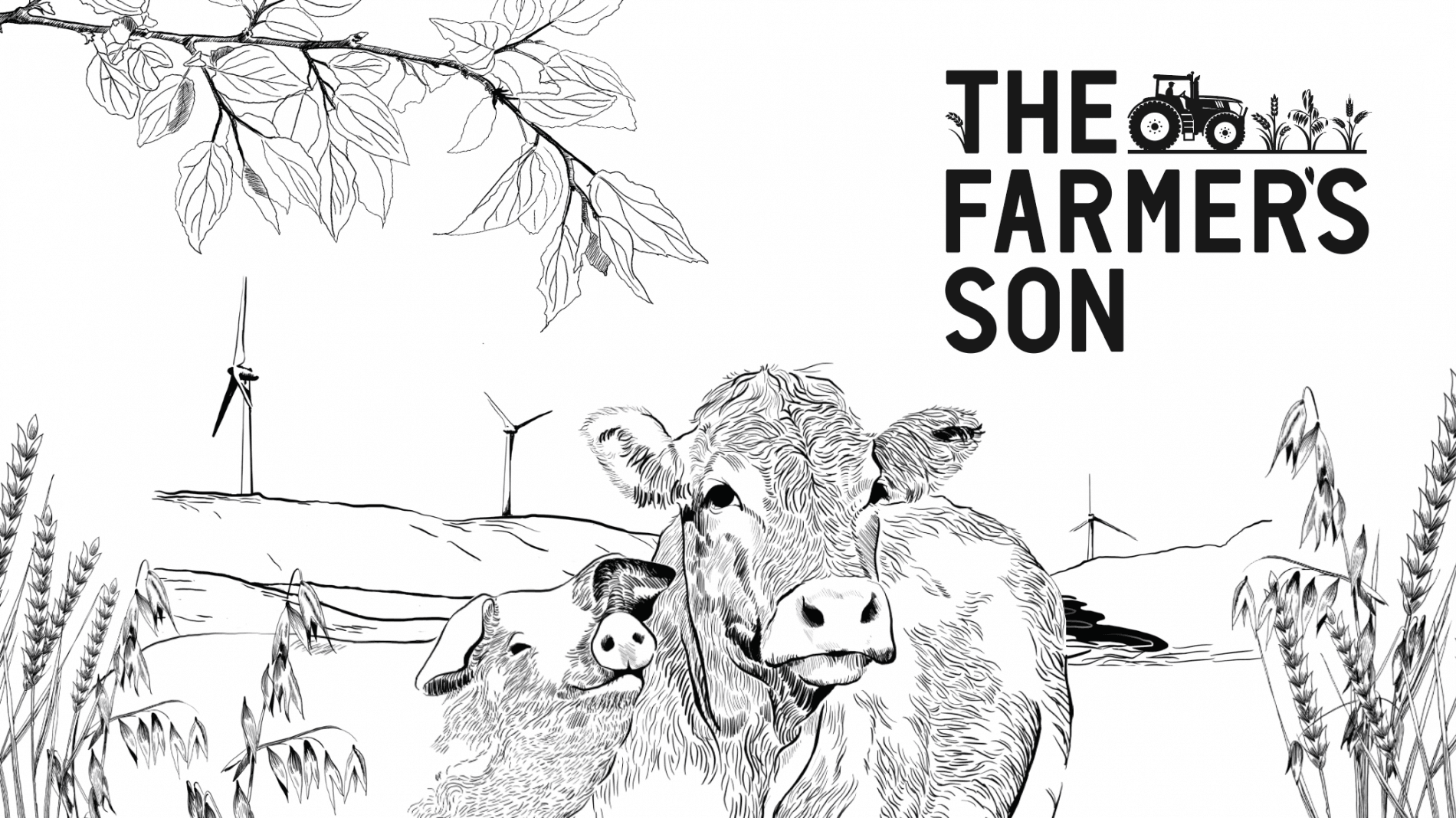 The Farmer's Son illustration of cows and pigs on the farm