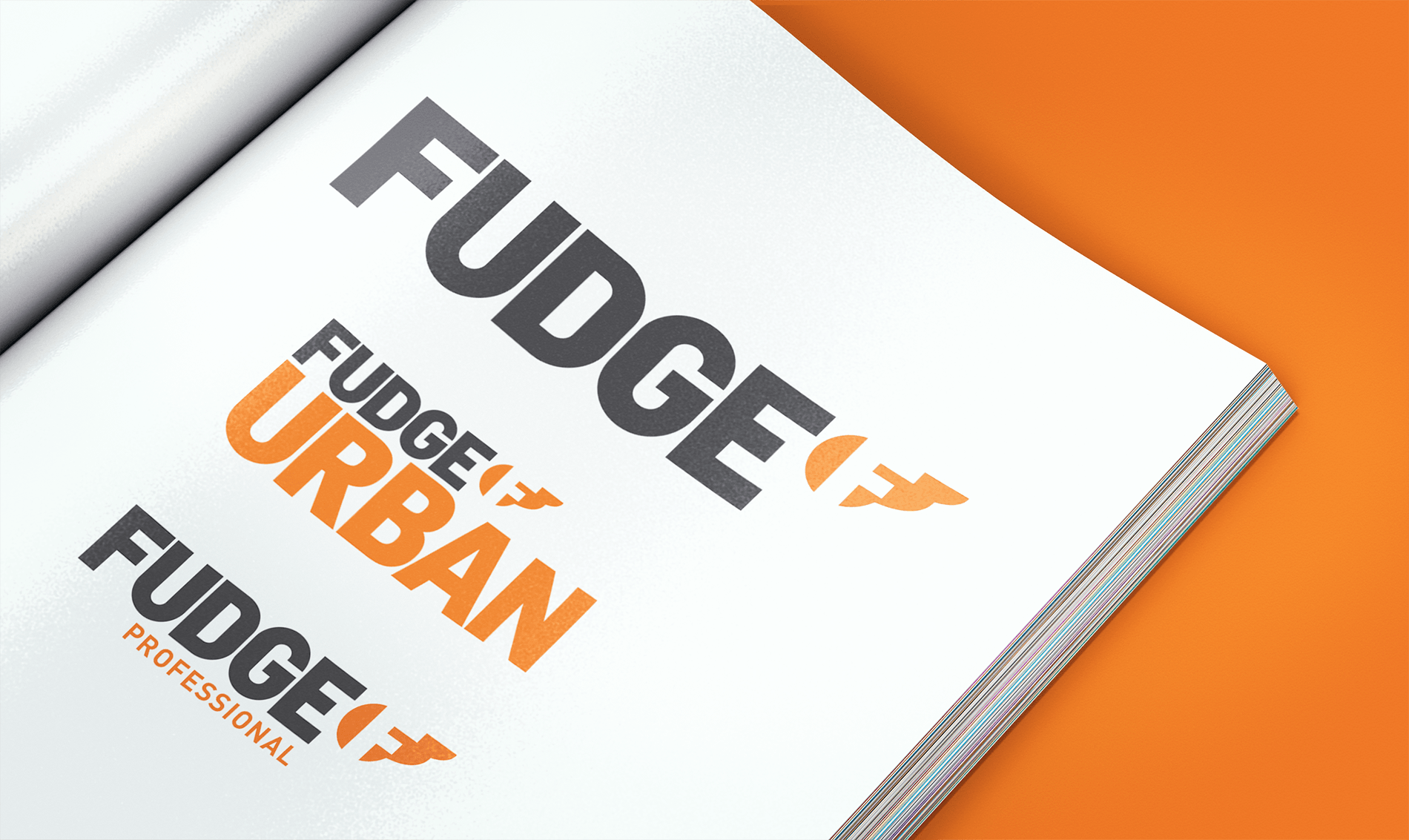 Open spread of logos for Fudge, Fudge Urban and Fudge Professional hair products