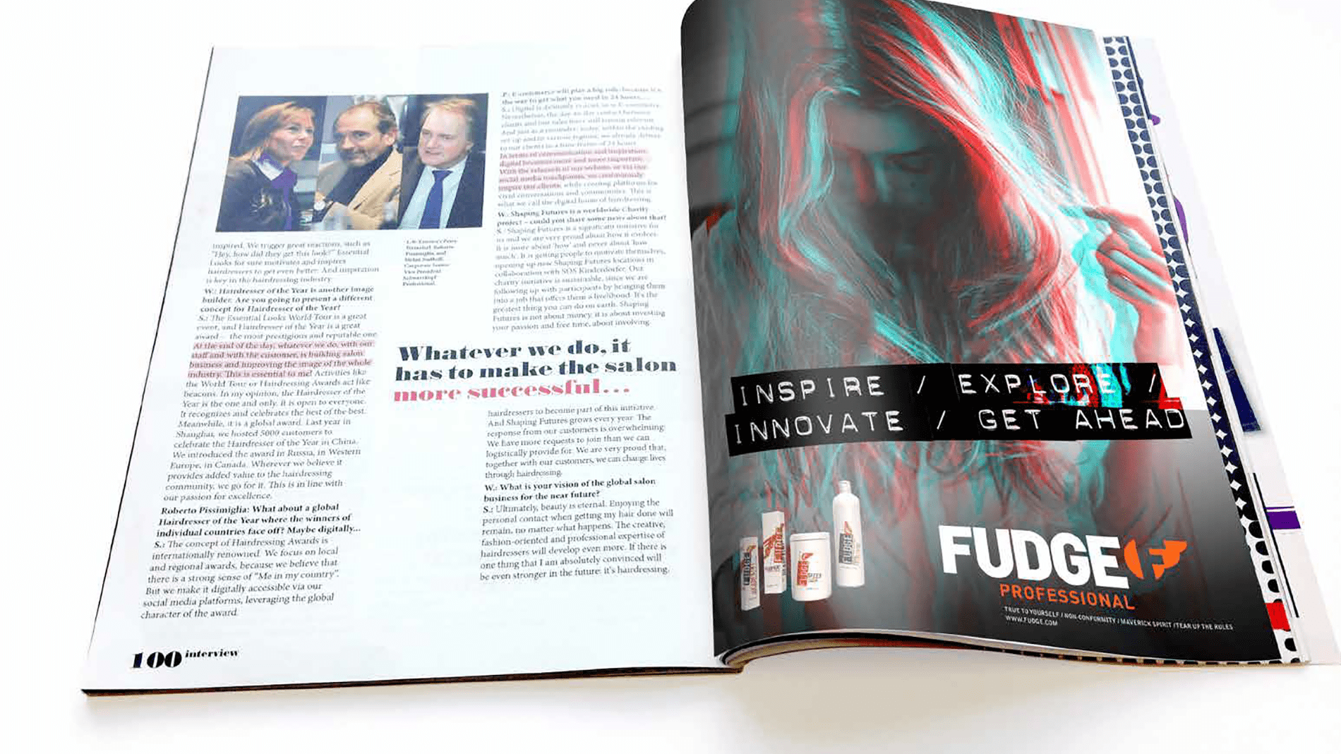 Magazine open spread with advert for Fudge Professional range