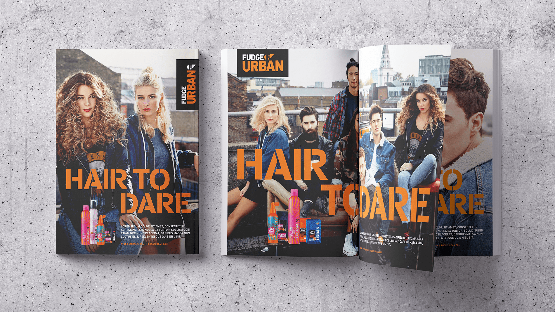 Magazine open spread with double page advert for Fudge Urban range