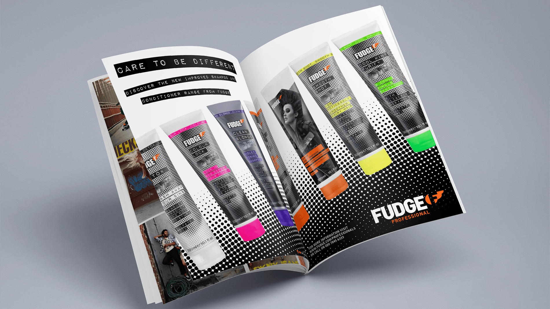 Magazine open spread with double page advert for Fudge Professional range