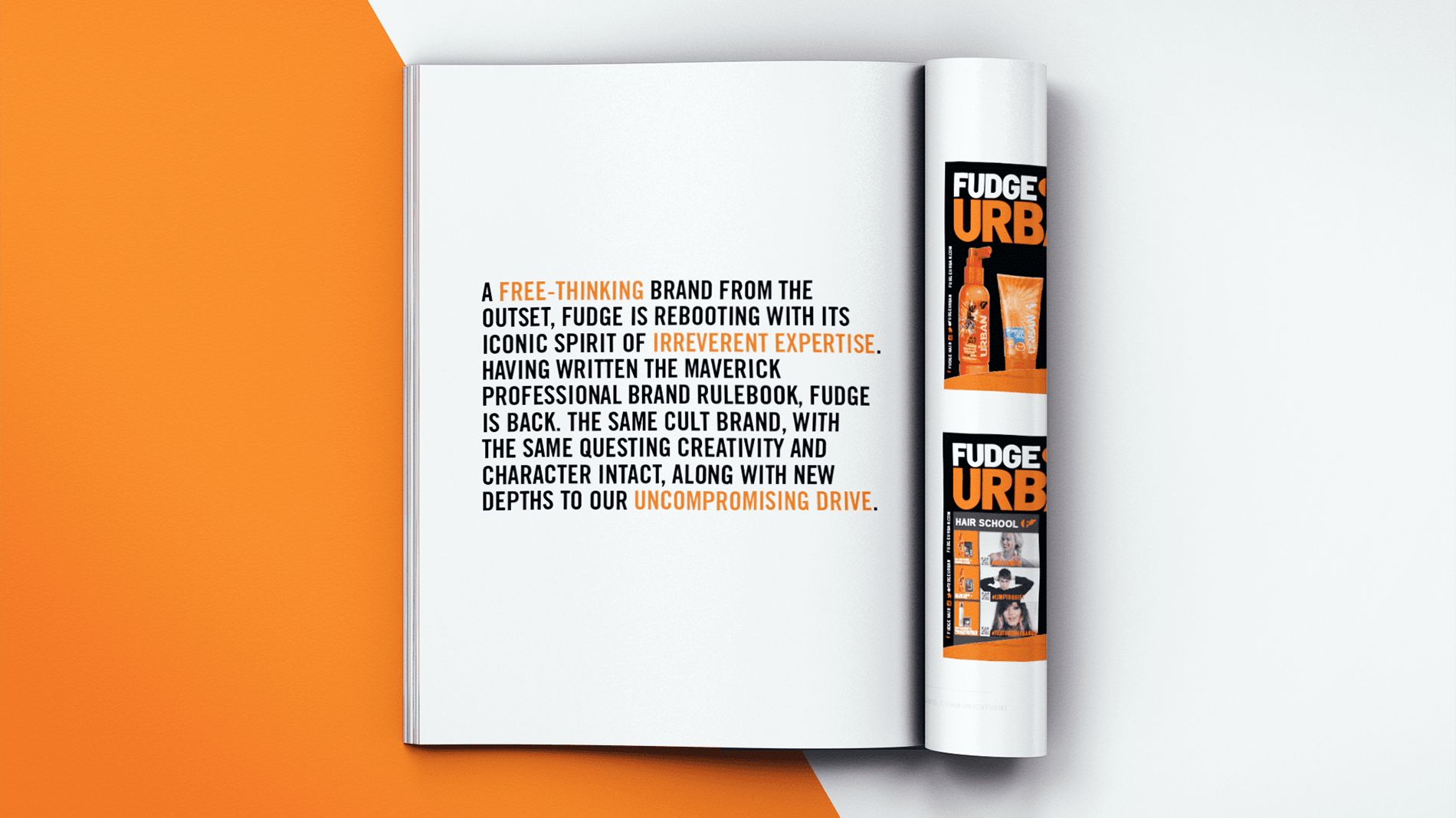 Magazine open spread with advert for Fudge Urban range