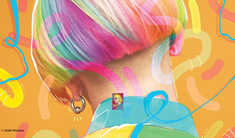 colourful graphic design print by Kate Moross showing back of women's head