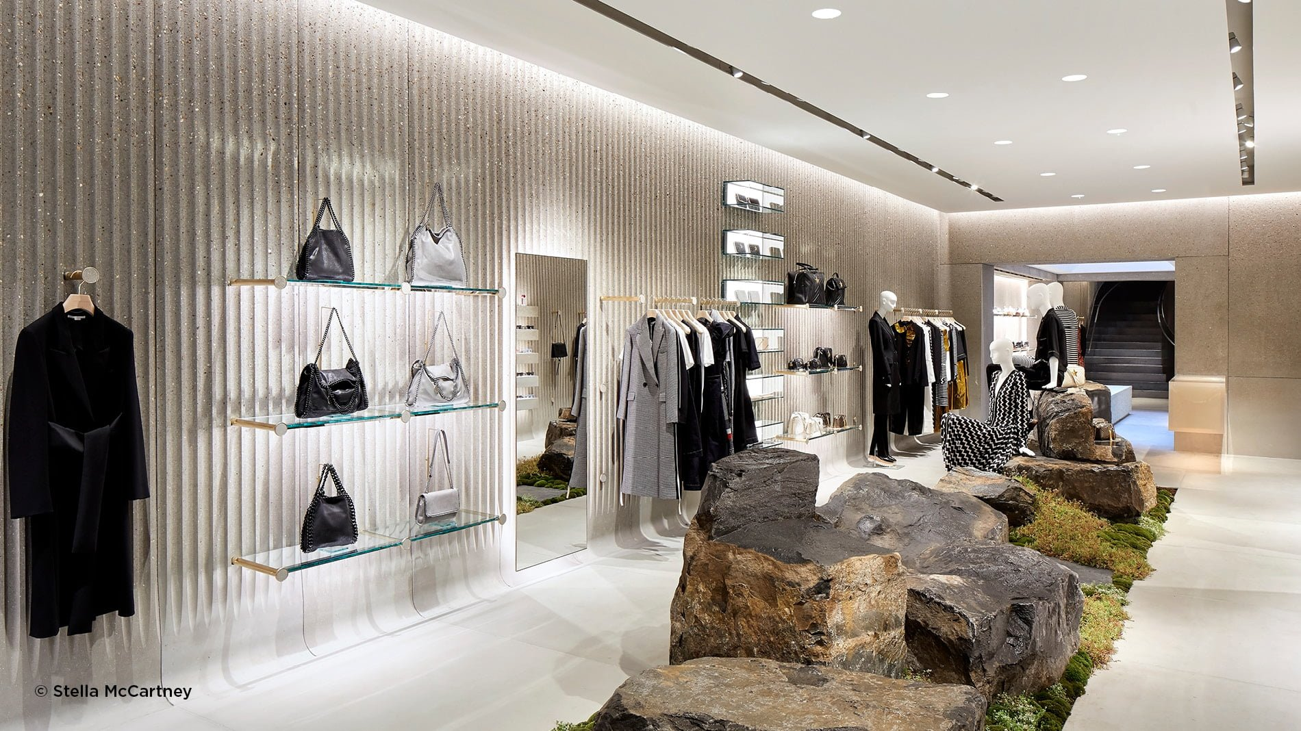 Biophilic design rock centre piece in the new Stella McCartney Old Bond Street Store in London