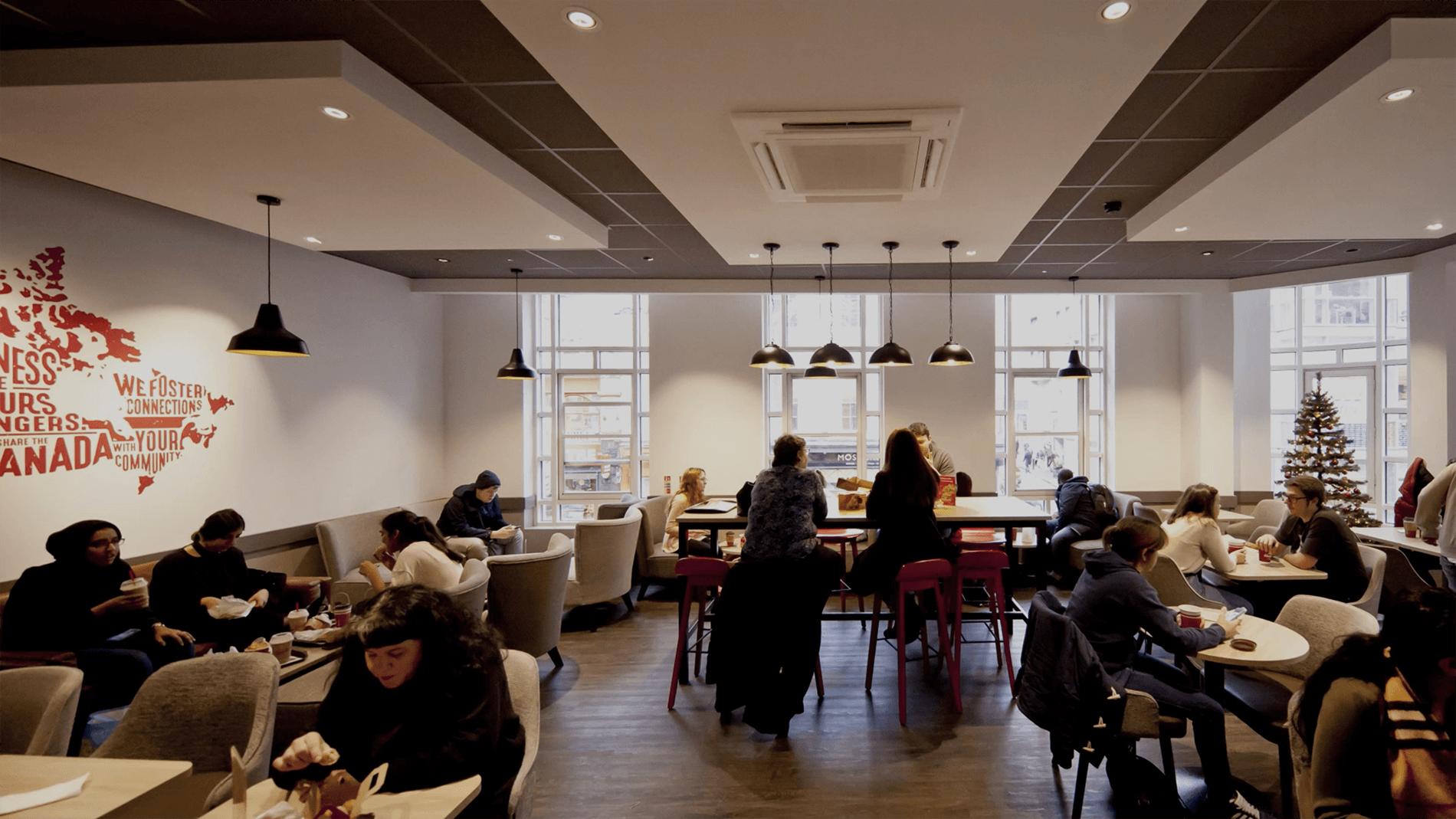 Food and beverage restaurant interior header still