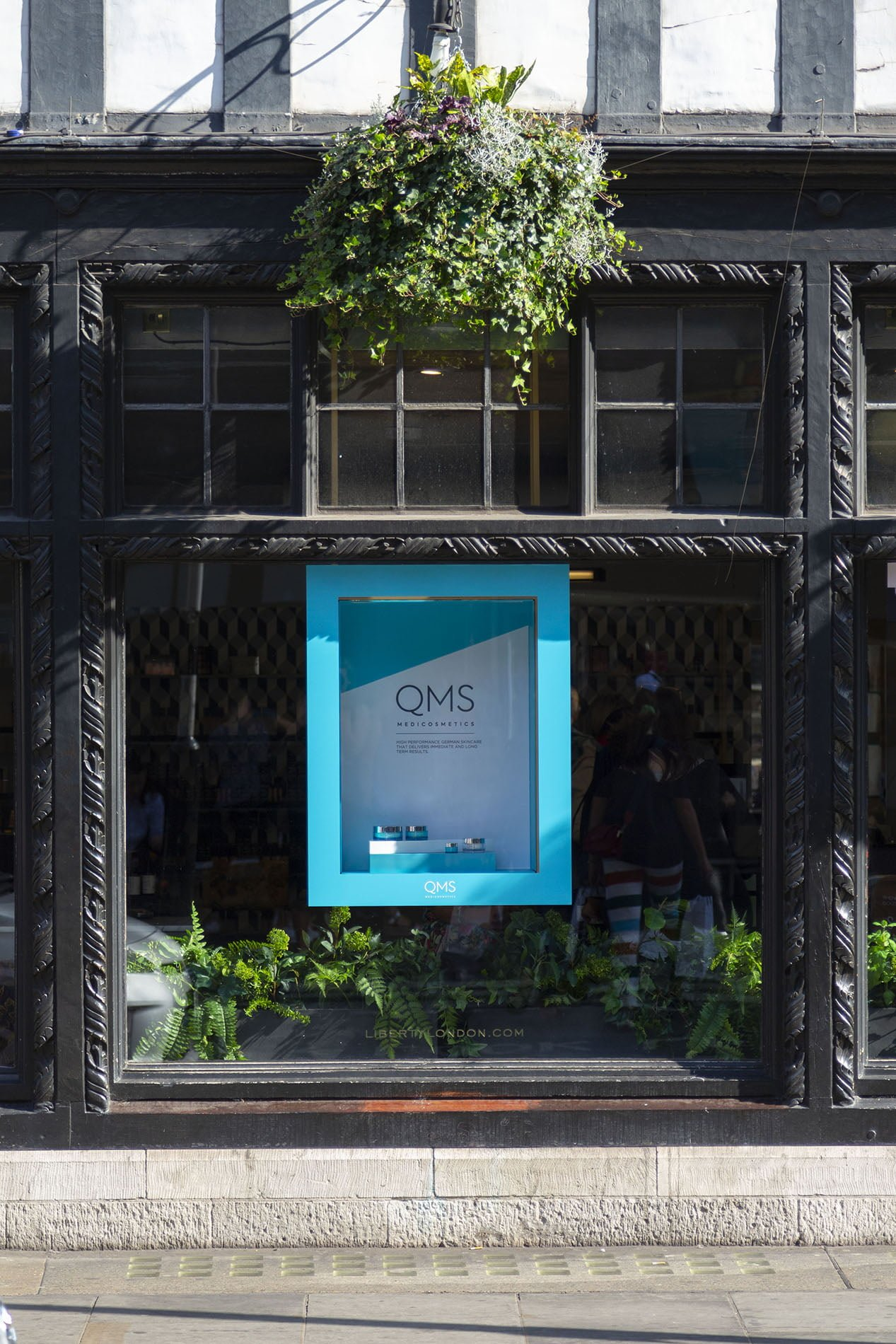 QMS retail unit window display at Liberty London