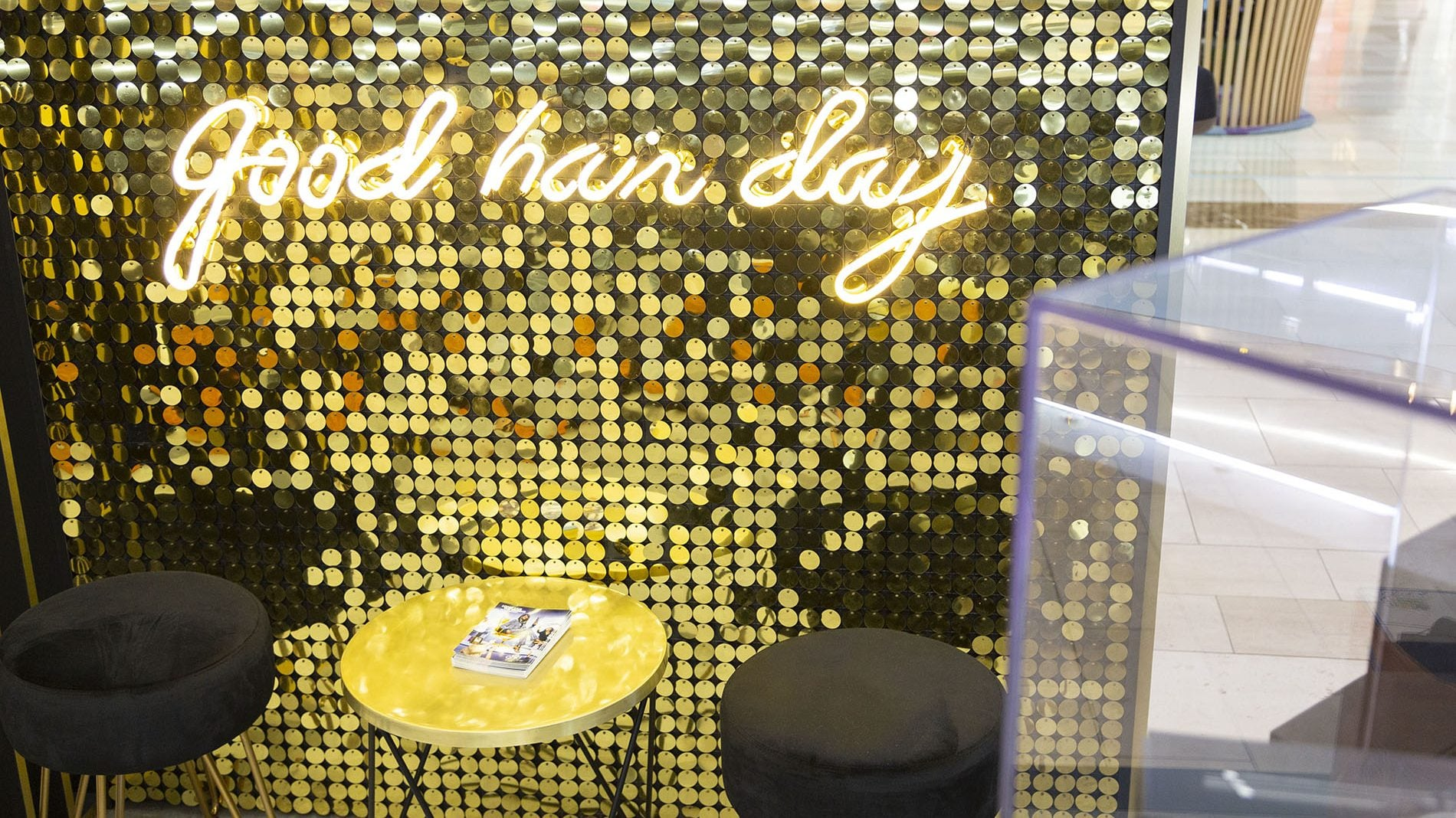 illuminated good hair day sign for GHD at westfield