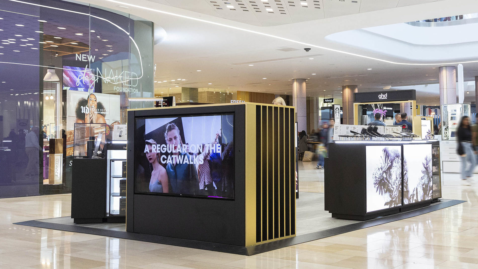 GHD concession in Westfield London with digital screens