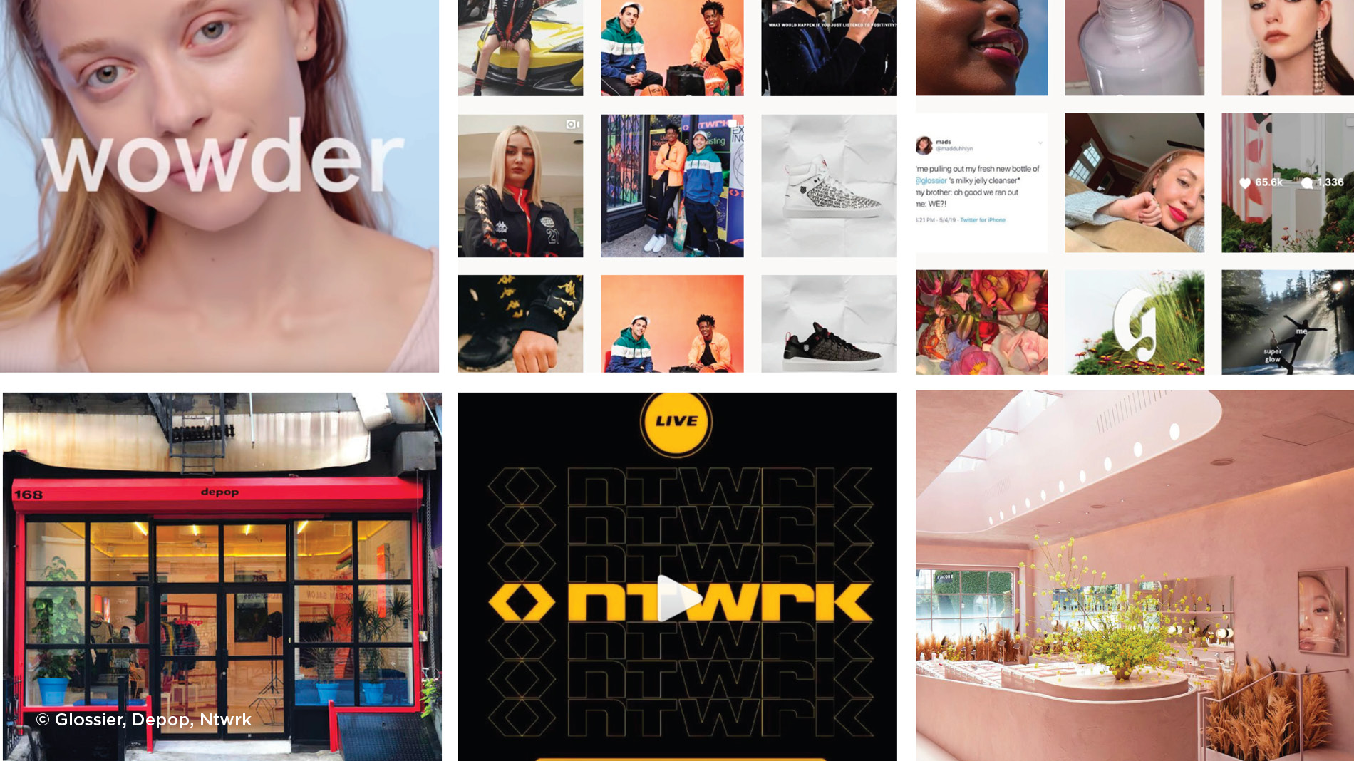 New age of retail disruption examples by glossier, depop and ntwrk