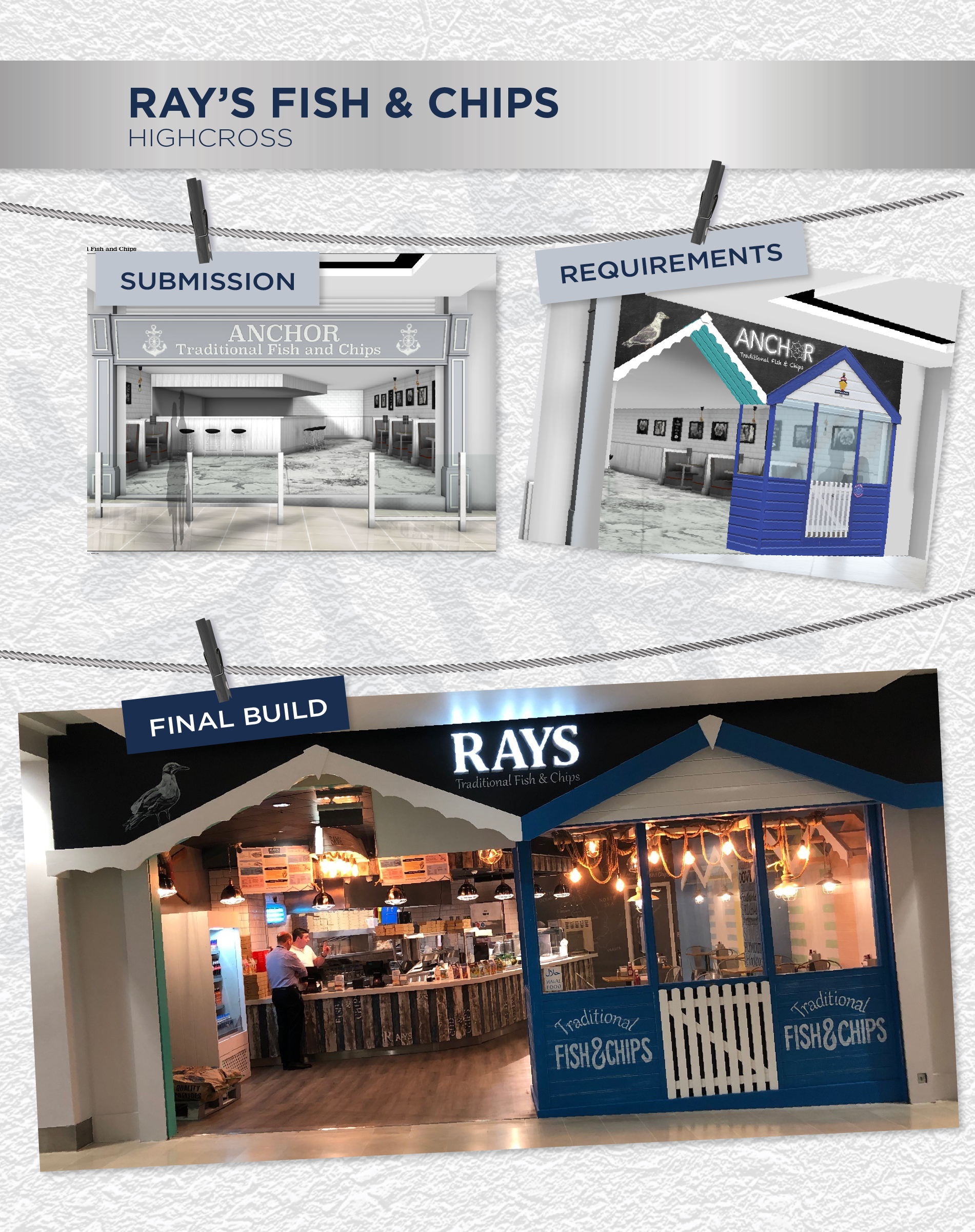 Beyonds retail design management team Ray's fish & chips store front