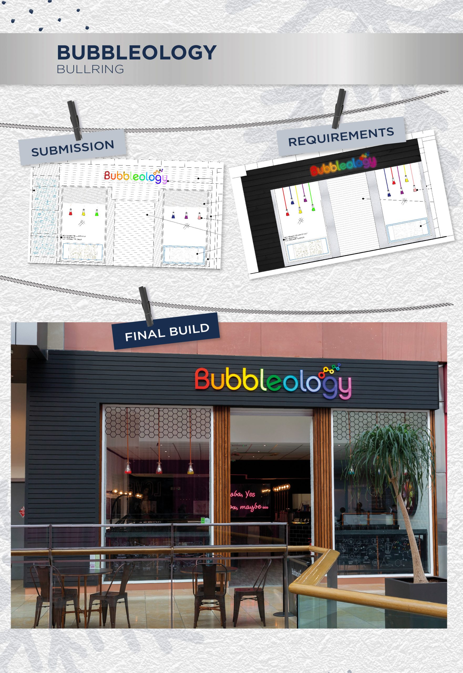 Beyonds retail design management team Bubbleology store front