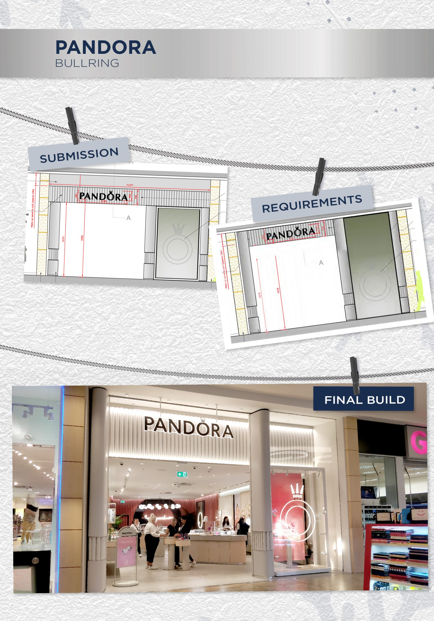 Beyonds retail design management team Pandora store front
