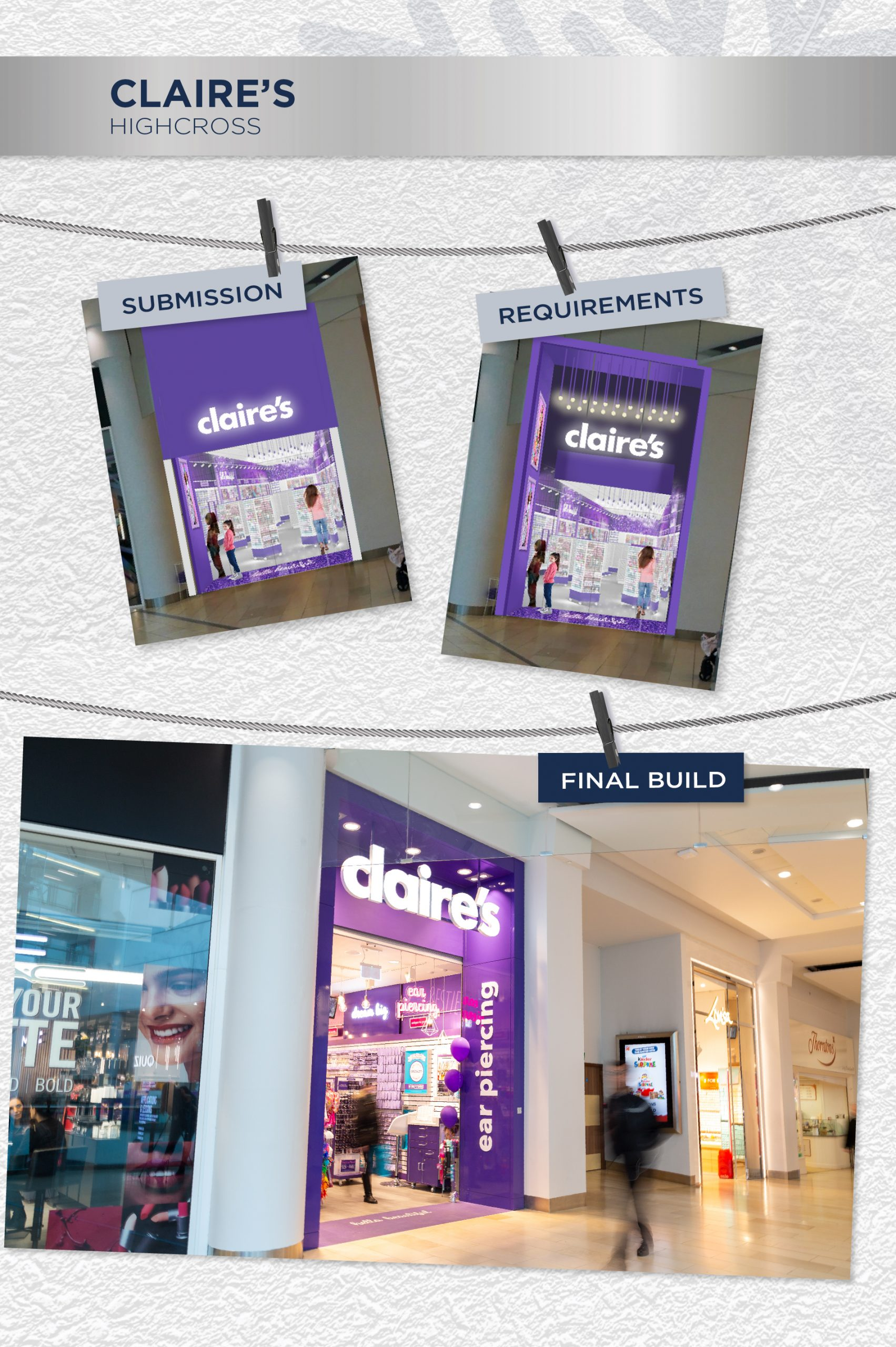 Beyonds retail design management team Claire's store front