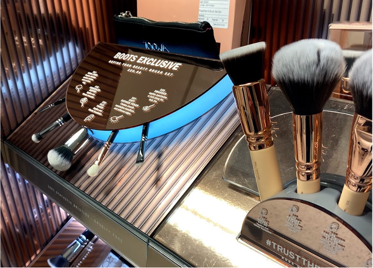 Zoeva makeup retail unit for Boots, brush display