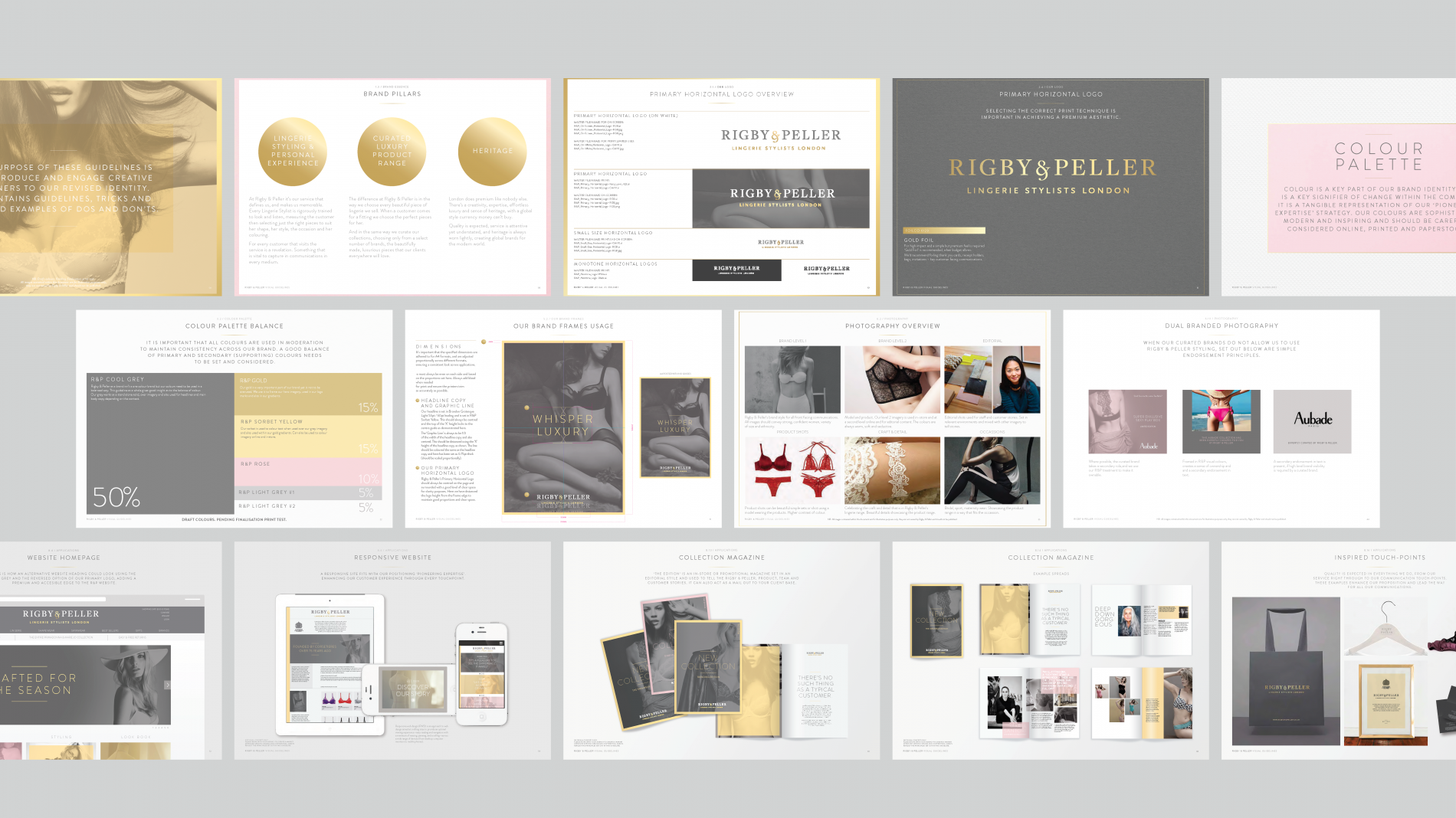Rigby & Peller brand guideline pages