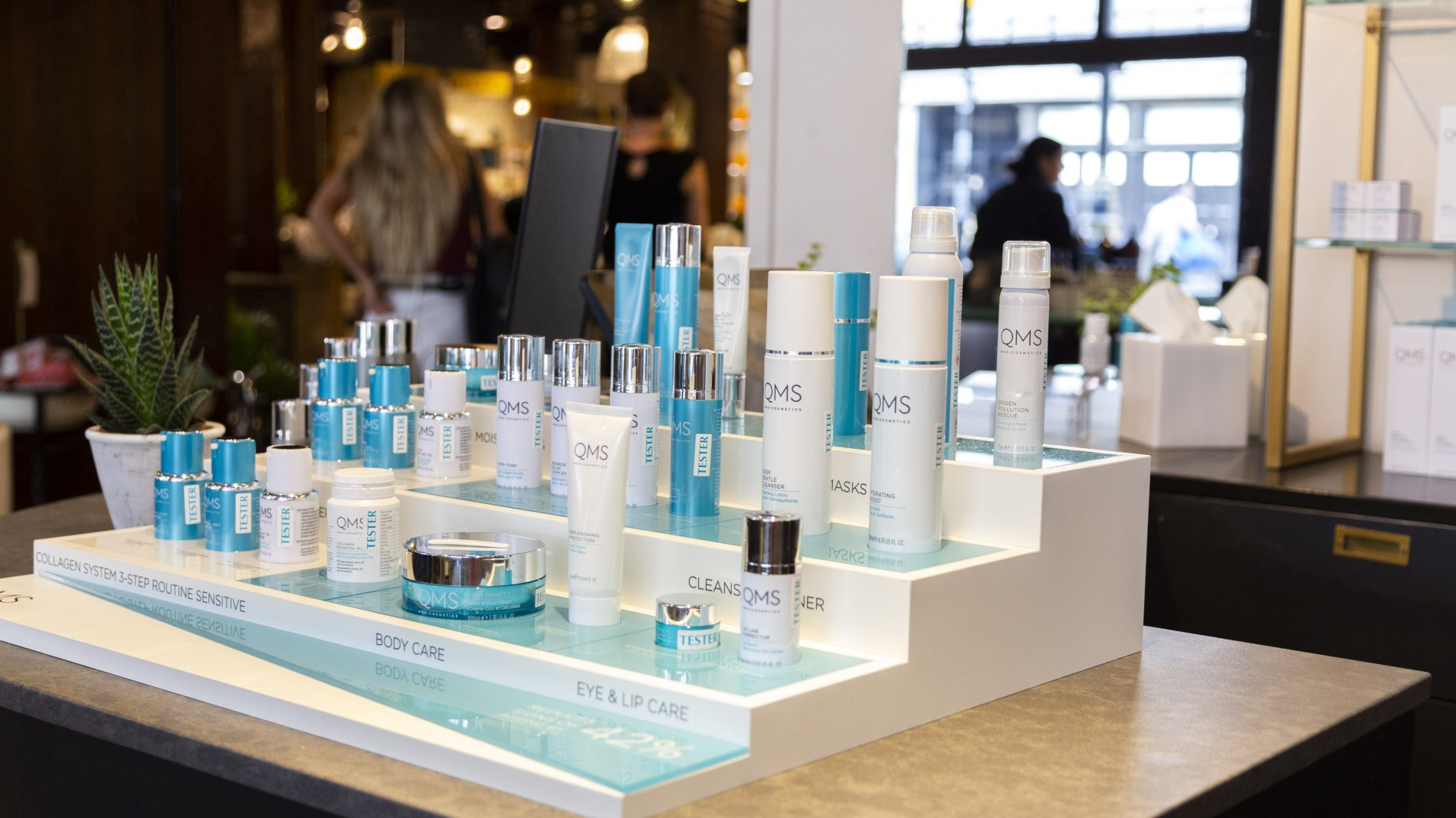 QMS cosmetics table top Liberty's unit