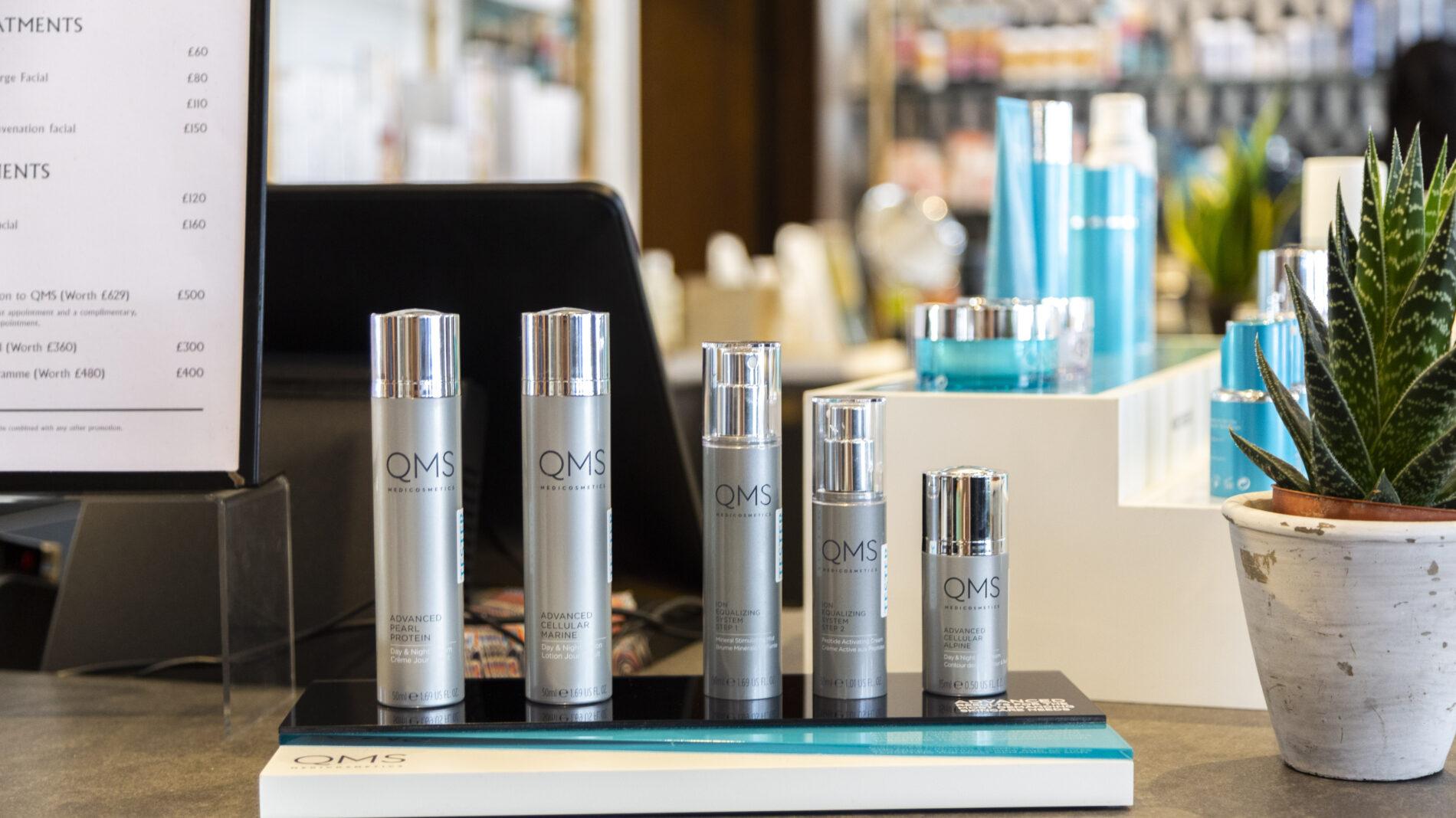 QMS cosmetics table top Liberty's unit