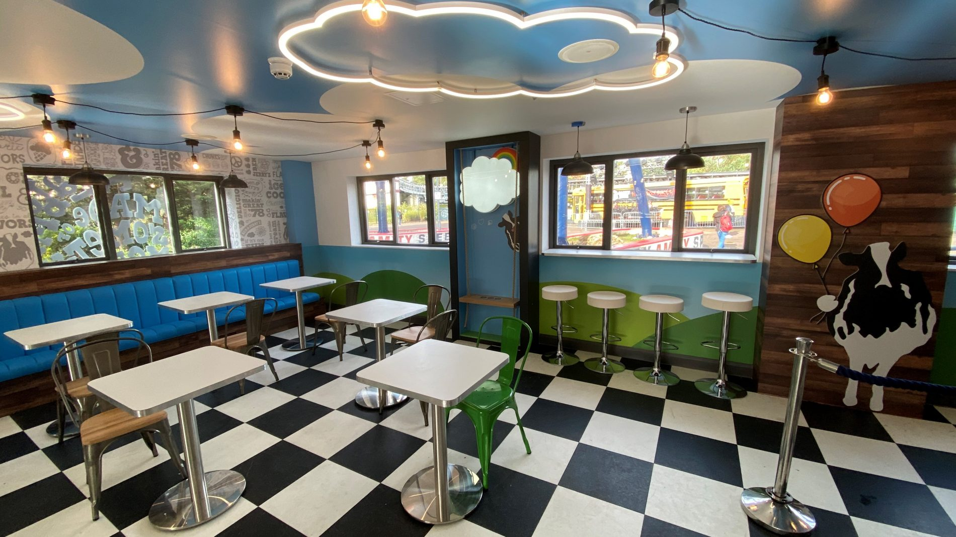 Ben and Jerry's Thorpe Park scoop shop interiors