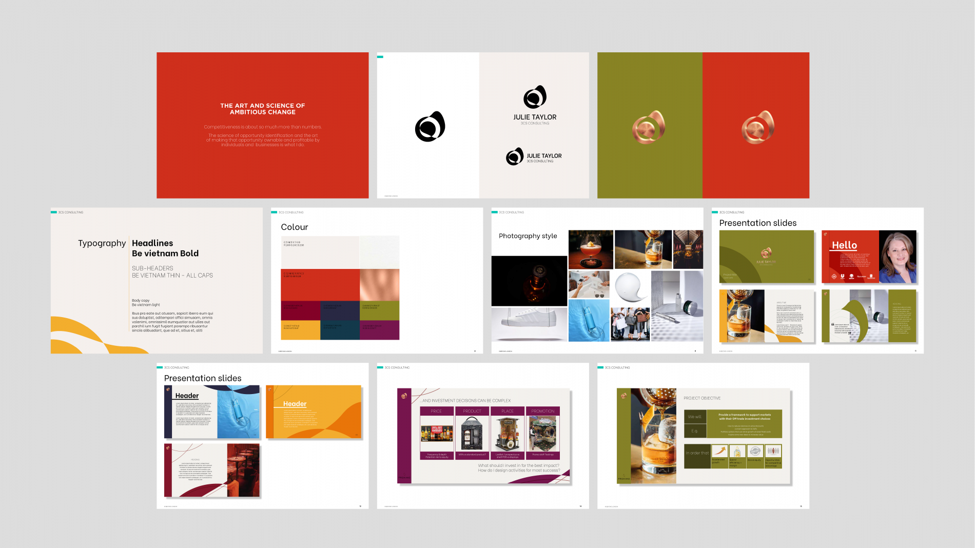 Julie Taylor 3CS consulting brand guideline pages