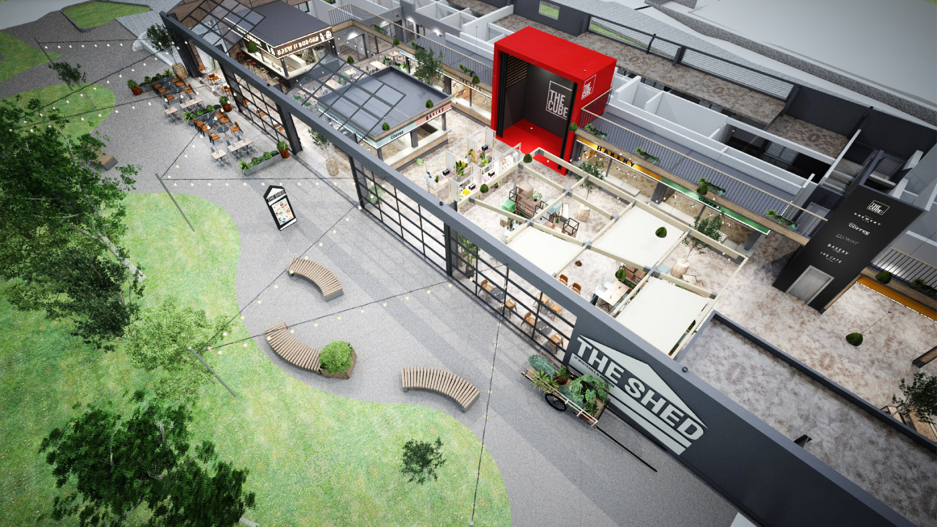 The Shed exterior design visual aerial shot