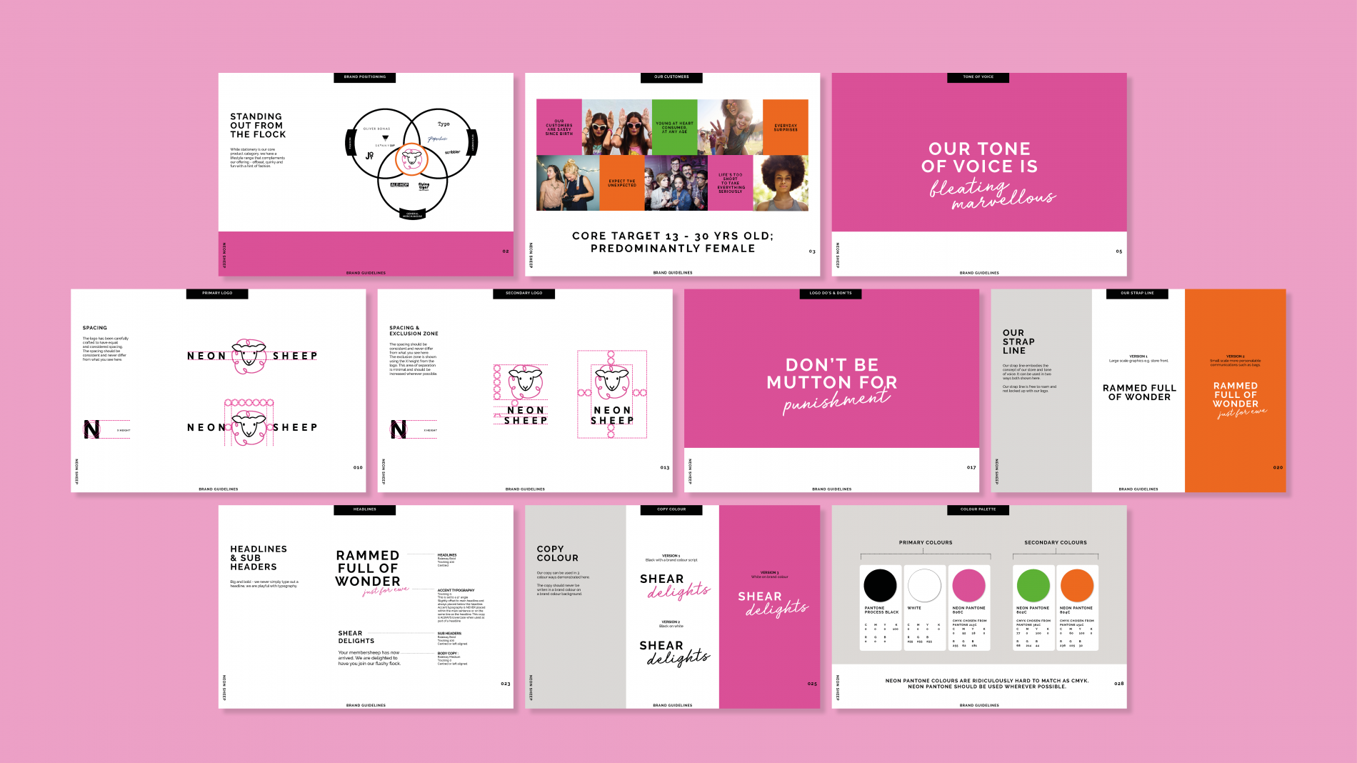 Neon Sheep brand guidelines pages