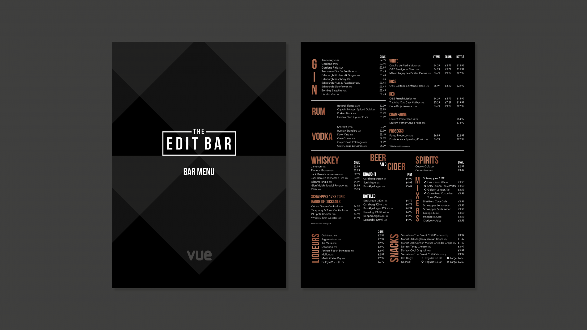 The Edit Bar main menu