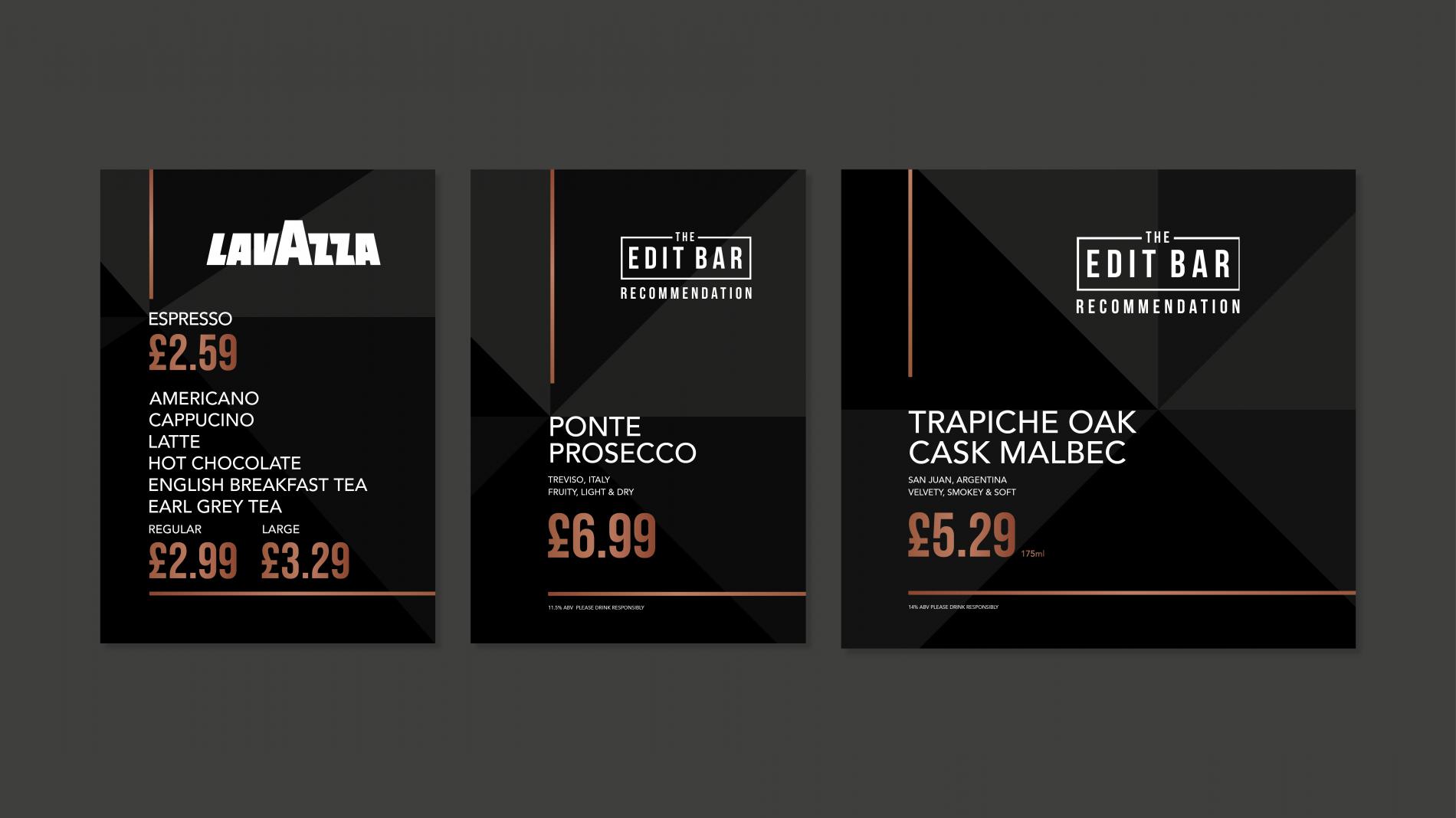 The Edit Bar promotional menus